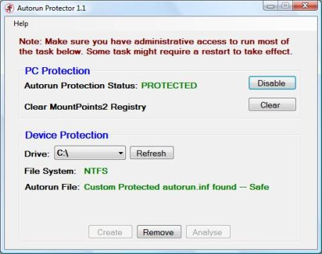 Autorun Protector 1.1 Main Screen