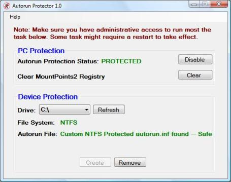 Autorun Protector Main Screen